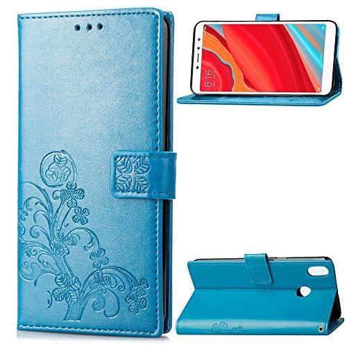 Funda Xiaomi Redmi S2, LAGUI Los Adornos Bien Definidos y Grabados Carcasa Tipo Libro, de ranuras para tarjetas y soporte horizontal y solapa con cierre magnético, azul
