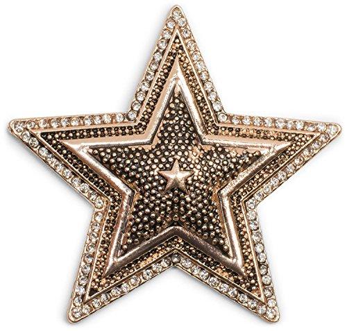 styleBREAKER Stern Magnet Schmuck Anhänger mit Strass, für Schals, Tücher oder Ponchos, Brosche Damen 05050059, Farbe:Rosegold