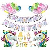 """AMZTM Mädchen Geburtstagsparty Dekorationen Einhorn Alles Gute zum Geburtstag Partyzubehör - 1 """"Happy Birthday"""" Banner, 1 Satz Fotokabine Requisiten, 2 Einhorn Ballons, 20 Marmor Ballons,"""