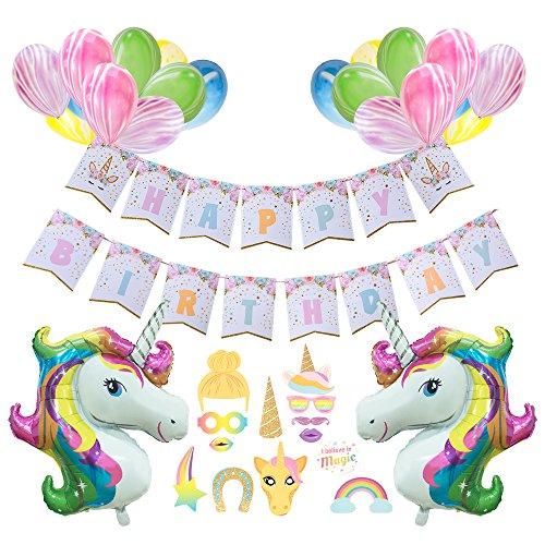 """AMZTM Unicornio Feliz Cumpleaños Suministros para La Fiesta -""""Happy Birthday"""" Pancartas De Fiesta,Apoyos De La Cabina De La Foto,Globos De Unicornio,Globos De Mármol"""