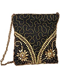 ICreate Women's Sling Bag (Black And Gold)