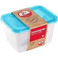 keeeper Food Storage Containers, Set of 2, 2 x 2 l, 20.5 x 15.5 x 10.5 cm, Fredo Fresh, Transparent Blue