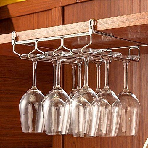 Hulisen home kitchen ajustable vino vetro rack e senza installazione, porta calici da champagne in vetro porta con viti hold 9 glass