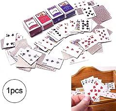 Hilai 1set Mini-Spielkarten Spiele Poker Papier Spielkarten 12.01 Miniatur-Puppenspielzeugpuppen Dekoration Zubehör