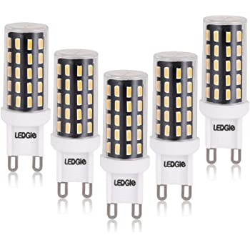 LEDGLE G9 Bombillas LED de 6W No Regulable, 54 Chips LED 420lm Blanco Cálido 2800K