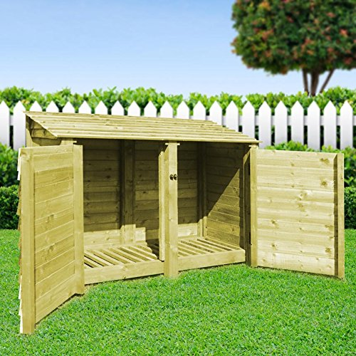Rutland County Garden Furniture HAMBLETON 4FT - WOODEN LOG STORE/GARDEN STORAGE WITH DOORS, BROWN, HEAVY DUTY, HAND MADE, PRESSURE TREATED.
