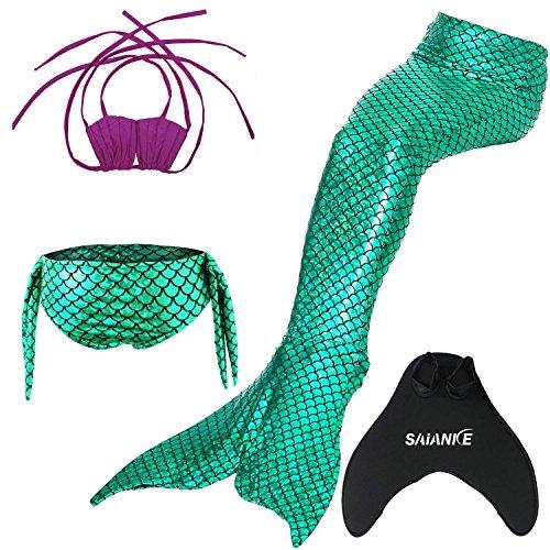 Saianke Mädchen-Bademoden-Set, mit funkelnder Meerjungfrauen-Flosse / Monoflosse Gr. X-Large, Green with rose top