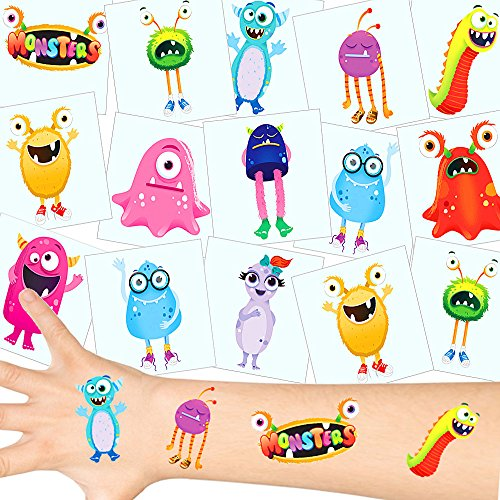 German-Trendseller ® - Monster Tattoos Set ┃ NEU ┃ Monster Party ┃ Kindergeburtstag ┃ Mitgebsel ┃36 Tattoos (Geld Mike Kostüm)