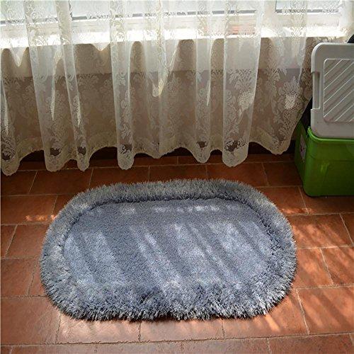 HDWN Superfine seta elastico filo ovale tappeto / camera da letto comodino mat / bovindo tappeto , light gray , 70*140cm - Ovale Mat