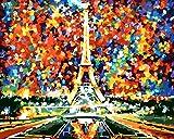 DIY Digital Leinwand-Ölgemälde Geschenk für Erwachsene Kinder Malen Nach Zahlen Kits Home Haus Dekor - Eiffelturm-h 40*50 cm