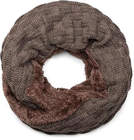 styleBREAKER warmer Feinstrick Loop Schal mit Flecht Muster und sehr