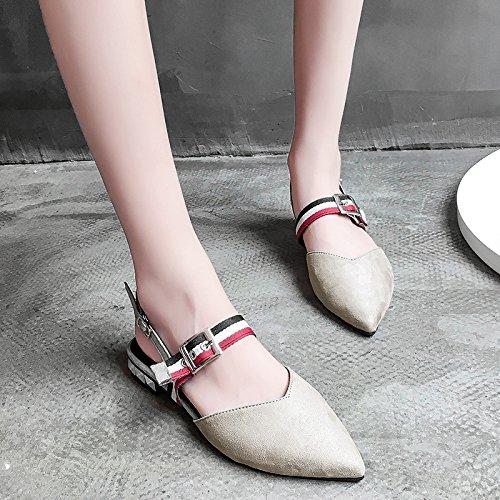 XY&GKDonna Sandali Estate a fondo piano cava appuntita Baotou sandali Donna Scarpe Casual, 37, Grigio,con il migliore servizio 35gray