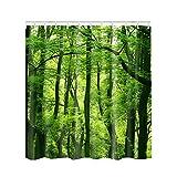 Kayi Bäume Scenery Polyester Wasserdicht mit 12Haken Badezimmer Dusche Vorhang, Grün/Wald, 59.1 x 70.9 Inch