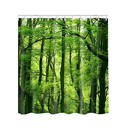Kayi Bäume Scenery Polyester Wasserdicht mit 12Haken Badezimmer Dusche Vorhang, Grün/Wald, 59.1 x 70.9 Inch (Extra Hold Styling Gel)