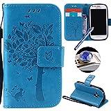ETSUE Funda de cuero con billetera, estilo libro, para smartphone, con compartimentos para tarjetas de crédito, para Samsung Galaxy S3, incluye tapón antipolvo y lápiz capacitivo azul y blanco Strap,Bär Samsung Galaxy S3 Mini