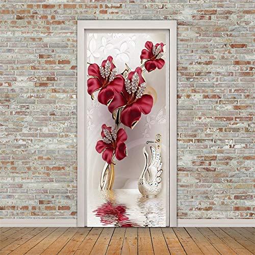 3D Türaufkleber Neues Produkt Rote Blumen Einkaufszentrum Schaufenster Glastür Aufkleber Wandaufkleber Selbstklebende Tür Aufkleber 77x200cm