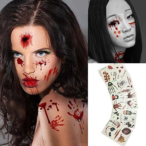 WarmoorHalloween Zombie Narben, Vampir Tattoo, temporäre Tattoos Non Toxic/Tätowierungen,wasserdicht Haut Tattoos , Blutigen Narben Klebe Kostüm für Halloween Party , Cosplay Aufkleber 5 (Paar Besten Einfach Kostüme Am)