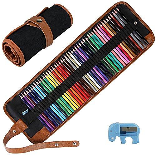 E-More Buntstifte-Set, Kunst, Bleistifte, Zeichnen, mit tragbarem, einrollbarem Leinen-Etui, Spitzer, für Künstler, 50Stück