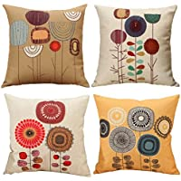 Freeas Cushion Cover, Set of 4 Cartoon Flowers Pattern Cotton and Linen Pillowcase Square House Sofa Cover 45 x 45 cm