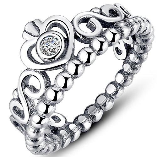 Presentski 925 steriling d'argento a forma di cuore anello crown princess per gita regalo di compleanno
