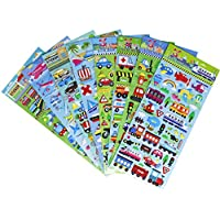 Foam Transportation Stickers 8 Sheets with Car, Airplane, Steamship, Train, Motorcycle - PVC Car Stickers Deacls for Kids - 160 Stickers