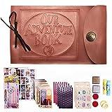 """Xiduobao - Diario di viaggio/Album per fotografie in stile retrò con decorazione """"My Adventure Book"""", ideale per compleanno, scrapbooking, fai-da-te, matrimonio Leather Cover """"Our Adventure Book"""""""