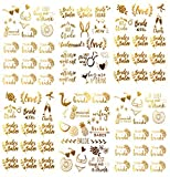 Bachelorette and Team Bride Temporary Tattoos - Over 100 Bride Tribe Metallic Tattoos, Tropical Designs in Gold (6 Sheets), Emma Collection