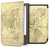 kwmobile Hülle für Pocketbook Touch HD - Flipcover Case eReader Schutzhülle - Bookstyle Klapphülle Weltkarte Vintage Design Braun Hellbraun