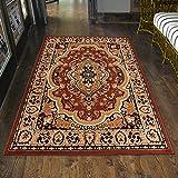 Carpeto Klassischer Orientteppich & Perserteppich mit Orientalisch Muster Kurzflor in Beige Braun/Top Preis - ÖKO Tex (60 x 100 cm)