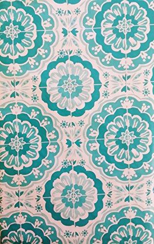Farbe Vinyl Tischdecke Flanell Rückseite-verschiedenen Größen und Farben, Vinyl, Shades of Blue/Teal, 52