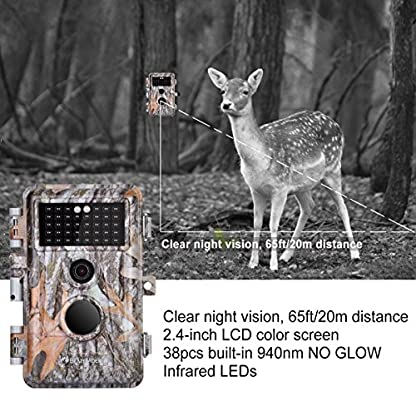 "BlazeVideo 16MP HD No Glow Infrared Scouting Game Camera, Trail Hunting Wildlife Animals Cam Motion Sensor Activated Waterproof Night Vision 40pcs IR LED, Take Picture, Video Record, 2.36"" LCD Screen"