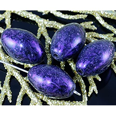 Viola Travertino Nero Vetro ceco in Tubo Ovale di Grandi dimensioni di Oliva Perline 18mm x 11mm 4pcs