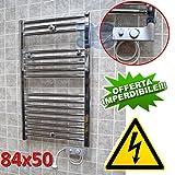 Elektro Badheizkörper CHROM CORTINA elektrisch Handtuchheizung + THERMOSTAT - 84x50 cm - 300 watt