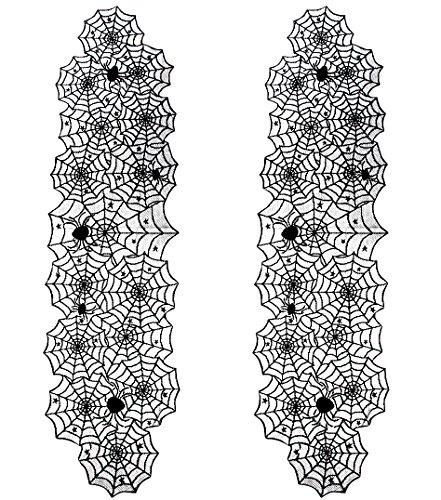 chläufer - 2er Pack Spider Web Design Spitze Tischdecke, Halloween Party Dekor, Tischwäsche, 45,7 x 182,9 cm ()