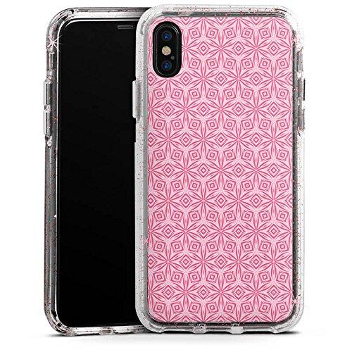 Apple iPhone 8 Bumper Hülle Bumper Case Glitzer Hülle Ornamente Blumen Flowers Bumper Case Glitzer rose gold