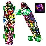 Hikole Mini Cruiser Board, 55cm Skateboard mit stabilen Deck und LED Leuchtrollen, Komplett Penntboard für Kinder Jungen Mädchen ab 4 Jahre