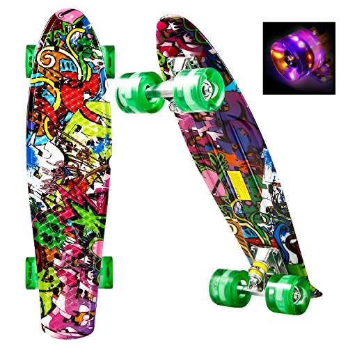 WeSkate Mini Cruiser Skateboard Komplett 55cm Retro