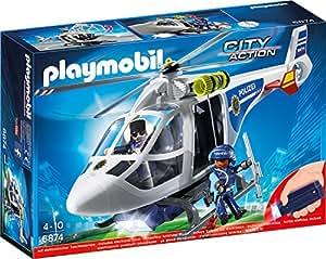 PLAYMOBIL 6874 – Polizei-Helikopter mit LED-Suchscheinwerfer