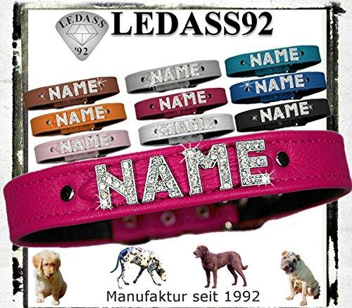 Hundehalsband mit Namen Strass Halsband Name Strassbuchstaben Swarovski Elements (S - 23cm - 30cm Halsumfang verstellbar, pink)