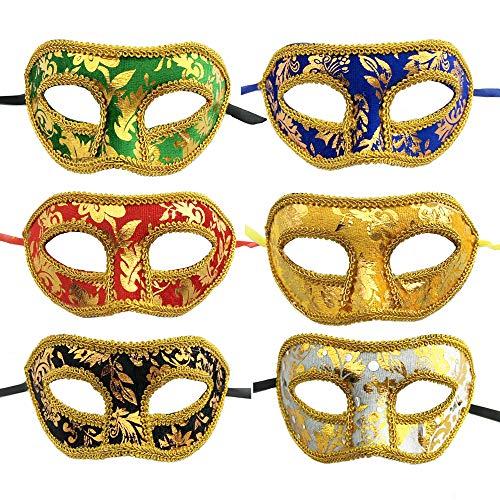 Ygsat 6 pezzi unisex maschere mascherata maschera veneziana costumi di halloween mardi gras puntelli di nozze mardi maschere festa accessorio del costume di carnevale