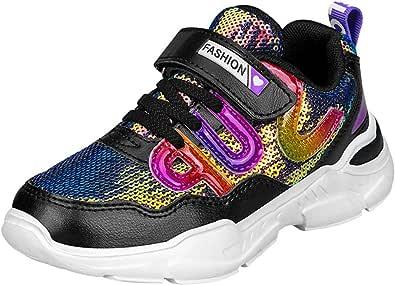 HSNA Scarpe Moda Sneaker Bambine e Ragazza Paillette Lucide Scarpe Bambina Sportive