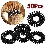 Asien - 50 Pcs schwarz Telefon Line Haar Ring Band Armband Seil Pferdeschwanz Drahthalter