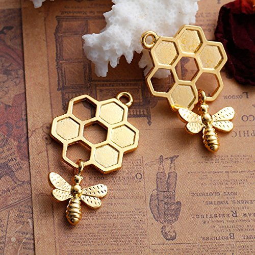 Angel Malone® 2 x 46 MM 3D Honeycomb Biene Charm-Anhänger Jewellery Making Findings (Charms Lesezeichen)