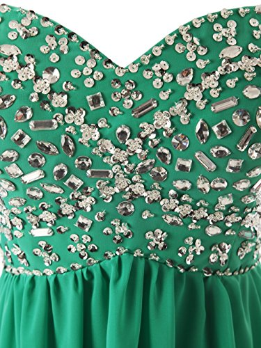 CoutureBridal® Robe de soirée Maxi en chiffon robe de bal cocktail avec des perles sans Manches Bleu Marine