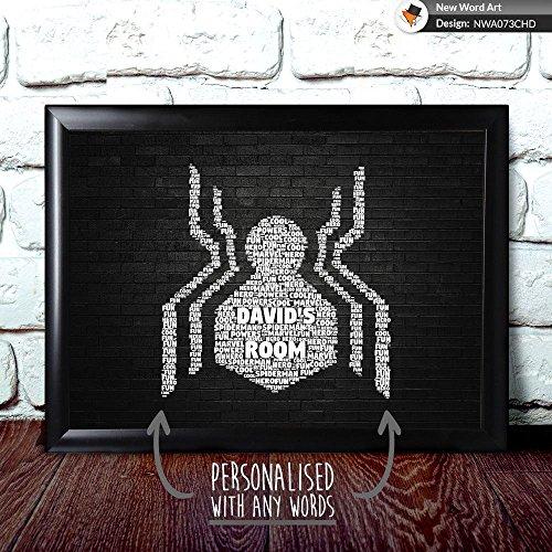 personalisierbar Marvel Spiderman Logo New Geburtstag Weihnachten Xmas Wort Art, A4 Print & Black Frame