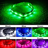 Blazin' Bison Sicherheit führte Hundehalsband - USB wiederaufladbaren mit Wasserdicht Blinken große hellgrün
