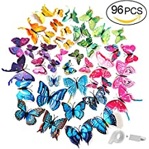 ivencase® 96 Piezas Alas Dobles Mariposa Pegatinas de Pared Etiquetas Engomadas Mariposas Decoración de la Pared con imán y Pegatinas para Hogar Casa Habitación