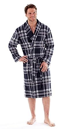 Mens Polar Fleece Dressing Gown Bath Robe Spring Lightweight ...