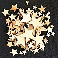 100Pcs Various Size Star Wooden Buttons No Hole DIY Sewing Scrapbook Decoration qingsb