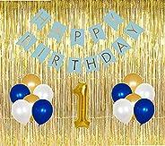 GrandShop 50725 1st Birthday Decoration for Boys 29 Pcs(3 Foil Curtain+1 Banner+24 Pcs Balloon+1 Foil Balloon)